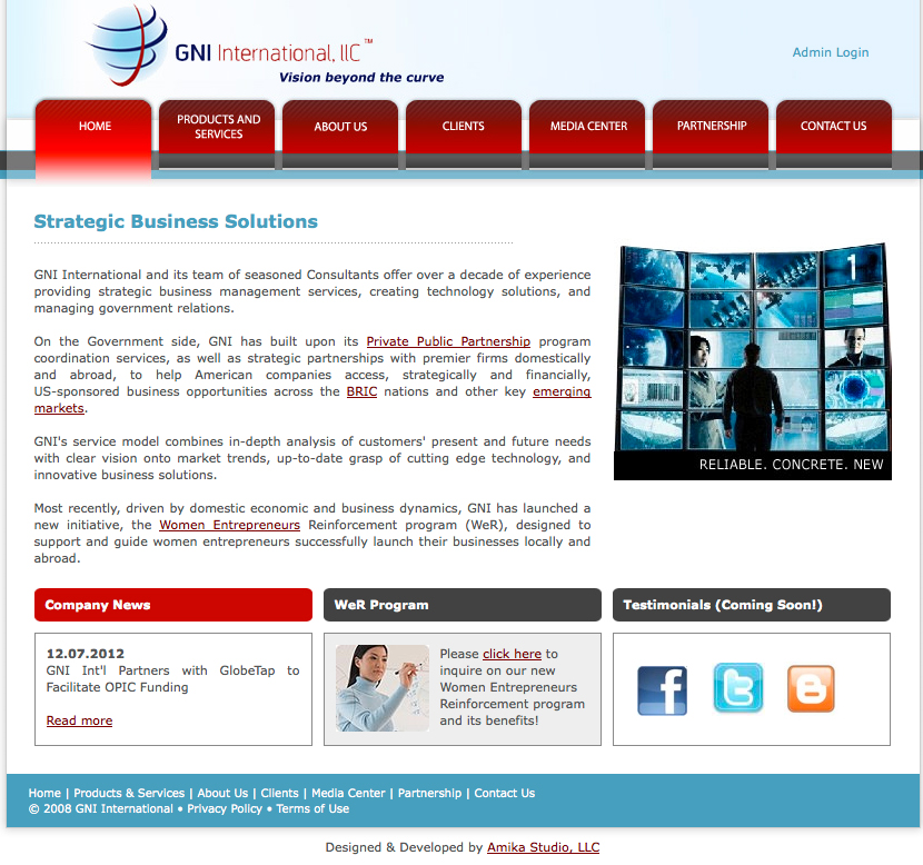 Web Design and Development for GNI International